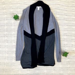 {WHBM} Open Cardigan Sweater Tunic Long Colorblock